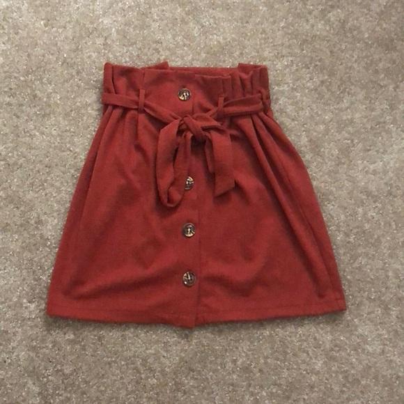 d4203439c Primark Skirts | Burnt Orange Paper Bag Waist Skirt Front Buttons ...